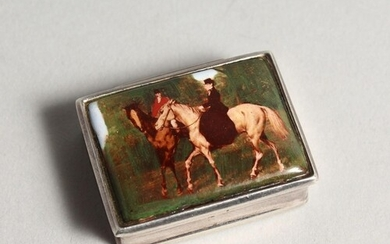 A SILVER AND ENAMEL SNUFF BOX, the lid decorated with figure...