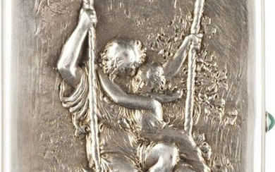 A SILVER CIGARETTE CASE WITH A COUPLE ON A SWING