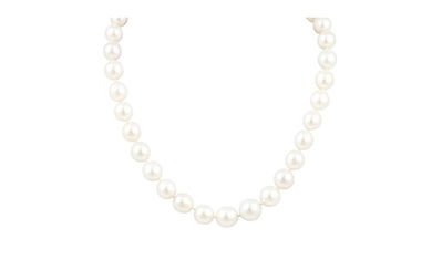 A SOUTH SEA PEARL NECKLACE, the slightly graduated pearls to...