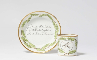 A Thuringian porcelain cup commemorating the German campaign