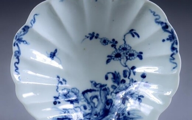 A Worcester Blue and White Porcelain Shell Tray, Circa...