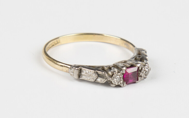 A gold, platinum, synthetic ruby and diamond three stone ring, mounted with a square cut synthetic r