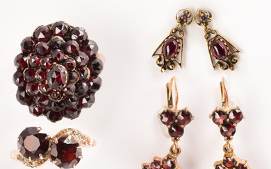 """A group of garnet and fourteen karat gold jewelry, incl. Victorian and """"style of"""""""