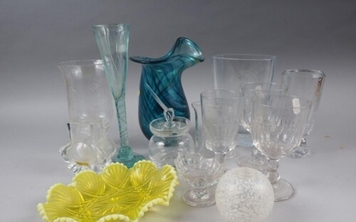 A mid 20th century Orrefors glass Romeo and Juliet vase, a s...