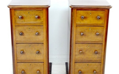 A pair of Victorian mahogany four drawer cabinets, the gradu...