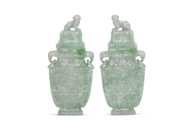 A pair of jadeite vases and covers, Qing dynasty, 19th century | 清十九世紀 翠玉饕餮紋象耳活環蓋瓶一對, A pair of jadeite vases and covers, Qing dynasty, 19th century | 清十九世紀 翠玉饕餮紋象耳活環蓋瓶一對