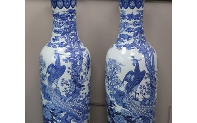 A pair of large Chinese blue and white floor vases, height 1...