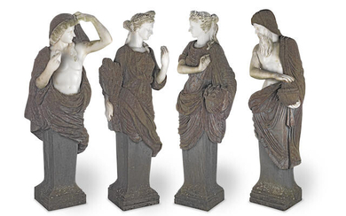 A set of four 20th century carved white marble and variegated composition stone term figures of the four seasons in the manner of Pierre le Gros, the Elder
