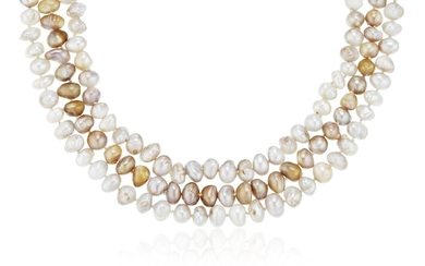 ARTHUR KING CULTURED PEARL AND GOLD NECKLACE