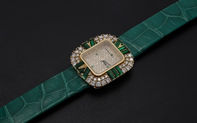 AUDEMARS PIGUET, A LADIES GOLD WRISTWATCH SET WITH DIAMONDS AND EMERALDS AND A PAVED DIAL