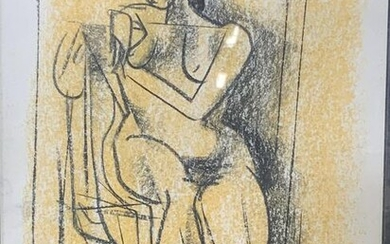Abstract Female Nude Oil Pastel on Paper