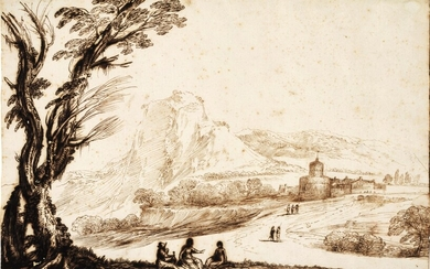 An extensive landscape with a large tree to the left, fortified buildings and a bridge to the right along a road with travelers, three figures resting in the foreground, Giovanni Francesco Barbieri, called il Guercino