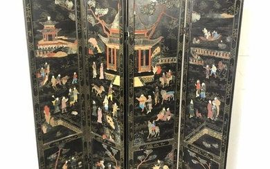 """Asian stone and gold inlaid 4 panel screen 68""""h x 16"""