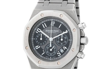"""Audemars Piguet. Limited Edition of 50 Pieces Royal Oak """"La Boutique Paris"""" Chronograph Wristwatch in Titanium with Full Titanium Bracelet, Reference 26041TI, With Box and Extract From the Archives"""