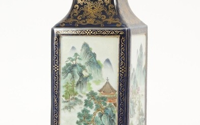 Chinese Famille Rose Cong Form Vase, Qianlong Mark but later FR3SHLM