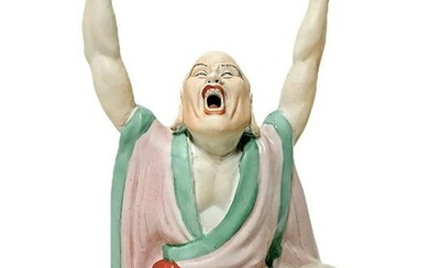 Chinese polychrome porcelain statue. H 24 cm