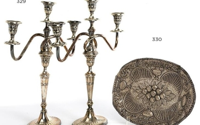 Couple of silver metal candlestick, of 3 lights