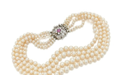 Cultured pearl and diamond necklace (Collana in perle coltivate e diamanti), Cultured pearl and diamond necklace (Collana in perle coltivate e diamanti)