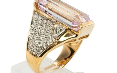 Diamond Pink Kunzite Ring 14K Gold Cocktail Band
