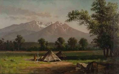 """E.P. Green """"Teepee on South Platte"""" oil on canvas."""
