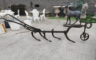 Early 20th C. wrought iron Grubber {92 cm H x 309 cm W x 45 ...