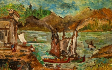 Early 20th century French acrylic on board Sailboats