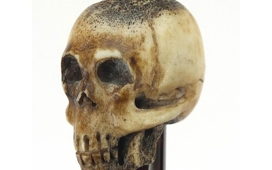 Ebony walking stick with carved bone the pommel in the form ...