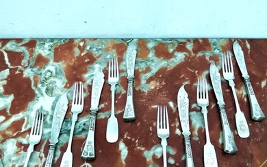 Fish cutlery for six people (12) - .800 silver - Germany - Early 20th century