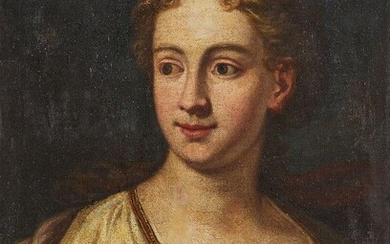 Follower of Francesco Furini, Italian c.1600-1646- Portrait of a lady, bust-length, turned to the right; oil on canvas, 61 x 49 cm. Note: The present work is evocative of the classical Baroque imagery that dominated the artistic scene in Italy...