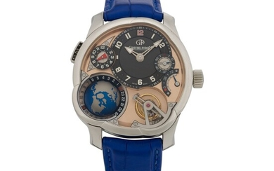 GMT, Limited edition platinum 25° inclined 24-seconds tourbillon, world time and dual time zone wristwatch with power reserve indication and three-dimensional globe Circa 2013, Greubel Forsey