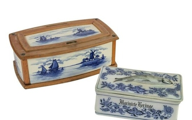 German Antique Porcelain Herring and Bread Box LOT