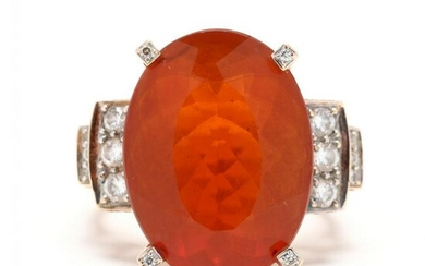 Gold, Fire Opal, and Diamond Ring