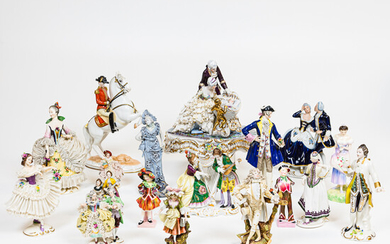 Group of Dresden, English, and Continental Porcelain Figures