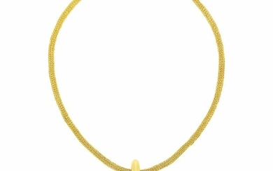 Ilias Lalaounis Gold and Sodalite Pendant with High Karat Gold Mesh Necklace