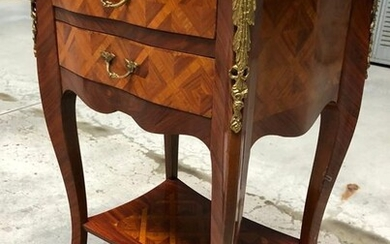 Inlaid bedside table - Louis XV Style - Bronze (gilt), Kingwood, Tulipwood - Late 19th century