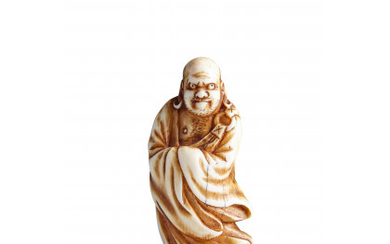 Ivory netsuke of Daruma, the Buddhist patriarch standing on reeds in a reference to his journey across the Yangtze river…Read more