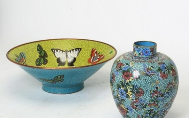 Large Chinese CloisonnÈ Bowl and Vase.