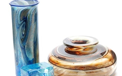 Michael Harris - Isle of Wight - A glass Nightscape vase, th...