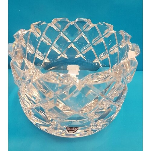 Orrefors Cut Glass Vase with Castellated Rim 3831-121 with l...