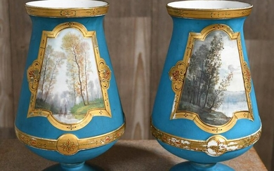 PAIR OF LARGE 19TH C. PAINTED PORCELAIN VASES.
