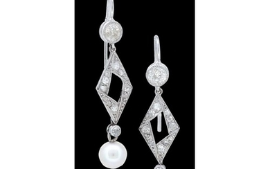 PAIR OF PEARL AND DIAMOND DROP EARRINGS, designed as a diamo...