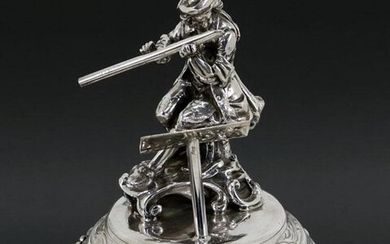 Rare and large silver toothpick holder - Pied Piper - .835 silver - Portugal - Second half 20th century