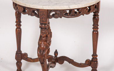 Rococo Style Carved Walnut and Marble Console Table