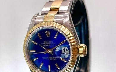 Rolex - Oyster Perpetual Datejust. Blue Dial. Steel & Gold. - 69173 - Women - 1990-1999