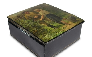 Russian lacquer painted box, signed and dated 1961