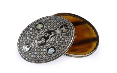 SILVER TABATIERE, NAPLES, late 17th century. Of oval shape, lid decorated with a tortoiseshell plate inlaid with a central decoration representing a hunting scene in silver threads, surrounded by circular mother-of-pearl motifs and four medallions...
