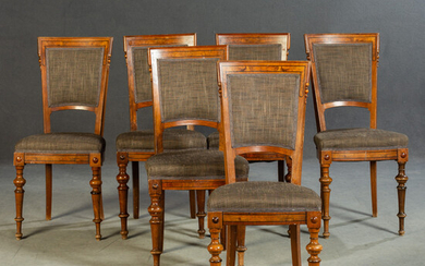 Six chairs, France, late 19th century. (6).