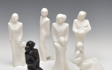 Six pottery figures of women, design Yvonne Niessen, executed by...