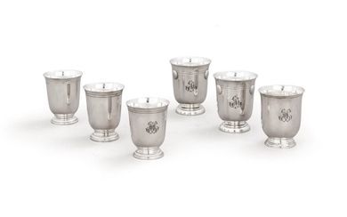 Six silver beakers by Ercuis, four engraved with a monogram and two with three shells, modern