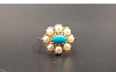 TURQUOISE AND SEED PEARL CLUSTER RING the central oval caboc...